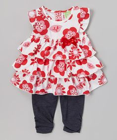 Look at this #zulilyfind! Red Flower Tiered Tunic & Denim Leggings - Toddler by Watch Me Grow #zulilyfinds