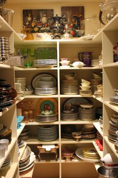 Love the storage for dinnerware and serving pieces Romancing the Home