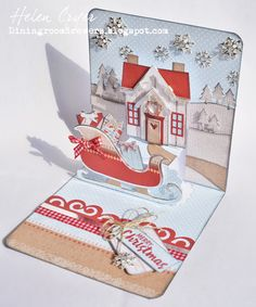 The Dining Room Drawers: Pop It Ups Christmas House and Sleigh Scene Card