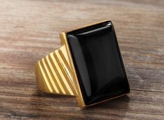 Antique Victorian Style Natural Onyx 10k Solid Gold Men's Ring #stanbul_Jewellry #Statement