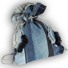 Super Unique Drawstring-Close Backpack - Recycled Old Jeans, Jean backpack, Denim Backpack by Kazuenxx on Etsy