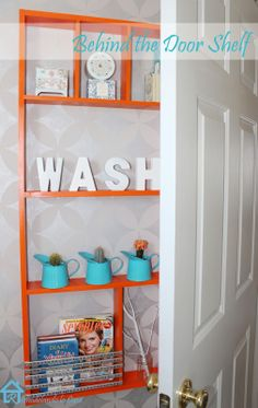 Remodelando la Casa: DIY Behind the Door Shelf. to utilize the space behind the door with storage and decorative accents. Shallow Shelves, Thin Shelves, Door Shelves, Bathroom Shelves, Diy Shelving, Bathroom Stuff, Bathroom Ideas, Bathroom Storage, Storage Room
