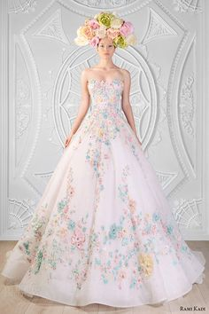 rami kadi spring 2014 couture collection sweetheart neckline strapless  hand embroidered flora white ball gown