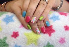 www.Facebook.com/DivineByDesignCNDNails  CND Shellac with hand-painted stars. xDBDx