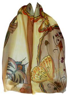 Pañuelo de seda pintado a mano en colores pastel de las mariposas.  Bufanda de la seda artística.  Flores y mariposas.  Francés Técnica Serti Seda Paining.  Regalo Envuelto.