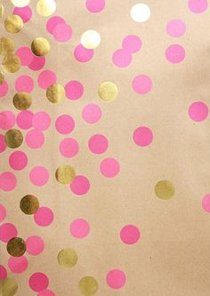 pink & gold dots on brown paper