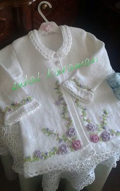Embroidered baby cardi; white cotton; crocheted lace edgings