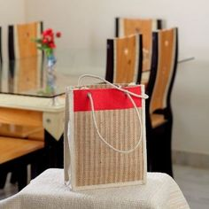 Beautifully Woven Handcrafted Beige Bag of Recycled Jute #Handcrafted Beige