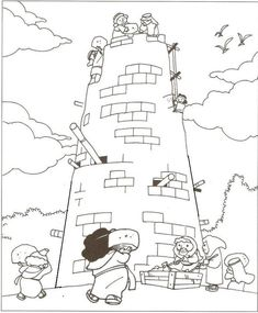 Tower of Babel Coloring Pages for Kids
