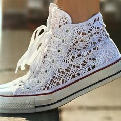 1aa35754f853 Chuck Taylor All Star Crochet ❥ Hermosos ❥ · Crochet ConverseLace Converse  ShoesAll ...