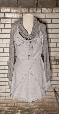 Hey, I found this really awesome Etsy listing at https://www.etsy.com/listing/186628392/light-grey-upcycled-jeans-dress-uk-6-14