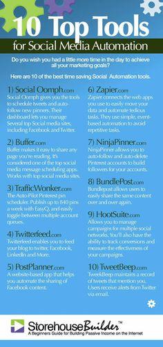 10 Top Tools for Social Media Automation! - Marketing Automation - Automate your social media accounts and schedule your post - - 10 Top Tools for Social Media Automation! Social Marketing, Marketing Mail, Marketing Trends, Web Social, Marketing Services, Digital Marketing Strategy, Facebook Marketing, Marketing Tools, Content Marketing