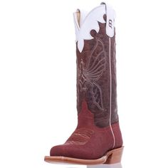 This kids Anderson Bean Elephant Print Cowboy Boot features a rusty Elephant print leather vamp. The shaft is an aged brown Bison accented with white stitching, white leather banded collar, pull tabs and white piping.