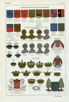 Antique heraldry coats of arms print from Vintage historical crowns & armors poster for office decor. Vintage Prints, Vintage Posters, Schnauzer Art, Gift Guide For Men, Vintage Boats, Dog Poster, Rock Decor, Free Prints, Armors