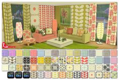 """mystickylightcolor:  BIG """"Orla Kiely"""" Special by LintharaSet includes : wall, pillow, sofa, loveseat, living chair, curtain and floor light recolorsDownload  Thank you very much!"""