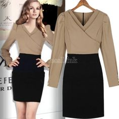 Hotsale Sexy Europe Elegant Ladies V Collar Long Sleeve Fitted Business Shirt Dress Office Dresses, Dresses For Work, Cheap Clothes Online, Dress Link, Business Shirts, Office Ladies, Elegant Woman, High Waisted Skirt, Fashion Dresses