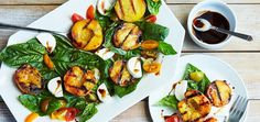 Honey grilled peaches are deliciously sweet and completely summery. When topped with heirloom tomatoes, fresh mozzarella, and a tangy balsamic reduction, they're outstandingly tasty. The balance betwe