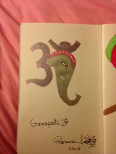 Ganapati  Ink pen on card stock By: Roxanna Arnett  Year: 2015