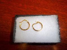 Yellow Gold Etched Hoop Earrings, 10K, Vintage Precious Metal Ladies Gold…