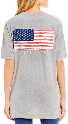 25cdf784a57 Lauren James Magnolia Flower American Flag Short Sleeve Graphic Tee  casual   summer  spring  party  gray  stripes  stars