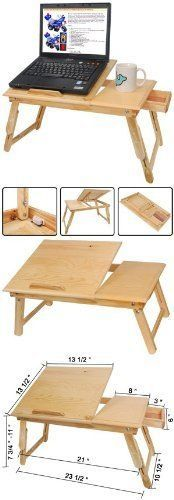 Laptop table adjustable laptop table and laptops on pinterest - Wood lap desk with storage ...