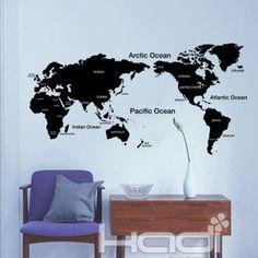 RMB 60   地图特价电视背景墙贴可移除立体卧室客厅包邮沙发墙照片墙贴纸-淘宝网