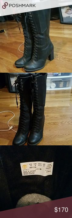 Black Lace Up Timberland Boots Size 10 Genuine leather Timberlands  Black lace up boots excellent condition, only worn once Heels are about 4 inches in height, tread on tbe bottoms Timberland Shoes Lace Up Boots