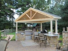 Custom Outdoor Kitchen with Custom Grill, Seating, and Covering