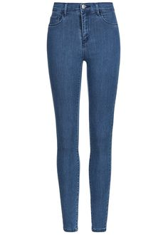 ONLY Damen Skinny Jeans deko Taschen vorne Regular Waist medium blau denim - 77onlineshop