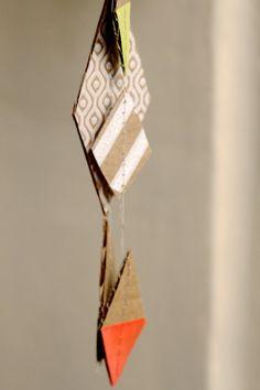 upcycled cardboard diamond garland