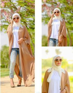 Nude Abaya style- How to style your Abaya cardigan for Ramadan http://www.justtrendygirls.com/how-to-style-your-abaya-cardigan-for-ramadan/