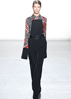 10 Work-Outfit Ideas Fashion People Will Love #refinery29  http://www.refinery29.com/runway-work-inspired-outfits#slide-8  Jumpsuits tend to seem a bit more dance-floor than boardroom. But, a silk collared shirt layered beneath keeps it professional. Yes, even a statement-printed one, seen here at Misha Nonoo.