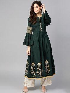 Designer Kurtis For Wedding - Buy Designer Kurtis Online Kurtis Online India, Designer Kurtis Online, Best Kurtis, Long Kurtis, How To Dye Fabric, Green Fabric, Saree Wedding, Green Cotton, Girls Shopping