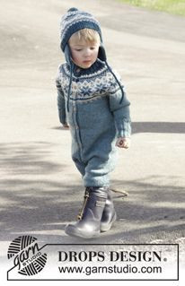 Wild Blueberries - Set of knitted overall worked top down with Nordic pattern and round yoke, plus hat with ear flaps and pompom in DROPS Karisma. Size children 1 - 6 years - Free pattern by DROPS Design