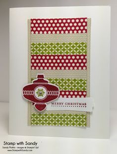 """Stamp With Sandy: Christmas Collectibles, RS78 & LIM134 Products Used: Stamp Sets: Christmas Collectibles, Teeny Tiny Wishes Card Stock: Whisper White Ink Pads: Cherry Cobbler, Old Olive Tools: Christmas Ornament, 1/2"""" Circle and Modern Label Punches Accessories: Season of Style Washi Tape, Rhinestones"""
