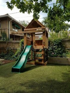- Clubhouse with wooden roof, Deck height, Ladder entry, Standard slide, Cantilever with Standard swing Playground Safety, Backyard Playground, Backyard Games, Backyard Ideas, Backyard Swing Sets, Backyard Patio, Simple Playhouse, Outdoor Play Structures, Outdoor Projects