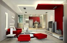 Modern Interior Red and White Living Room
