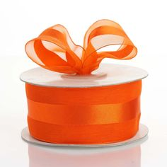 "25 Yards | 1.5"" DIY Coral Orange Organza Ribbon Satin Center - Clearance SALE"
