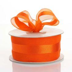 1 x 25 yards Organza Ribbon with Satin Center - Coral Orange Organza Ribbon, Burlap Ribbon, Purple Hues, Coral Orange, Fake Rose Petals, Ribbon Decorations, Feather Crafts, Valentines Day Decorations, The Balloon