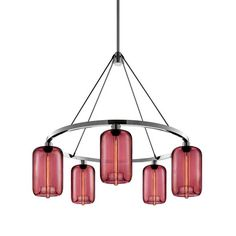 Pod Modern Chandelier.  You chose the configuration of the lights, the shape of the lights and the colour - plum is gorgeous!