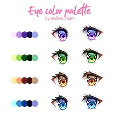 Some eye color palettes 👀 Which one is your favorite? 👀..There's a little tutorial to go with this too--I just have to add the text and fix some details so it should be posted any time tomorrowヽ(´▽`)/...Eyes are definitely my fav part to color!! It's just so soothing and I always love adding sparkles hehe~ I hope this can help some of you when choosing the colors (but ofc there are many more pretty variants! 💕)..I don't think I'll be making more palettes for eyes, but if there are colors you Eye Drawing Tutorials, Digital Painting Tutorials, Digital Art Tutorial, Art Tutorials, Anime Tutorial, Eye Tutorial, How To Draw Anime Eyes, Manga Eyes, Palette Art