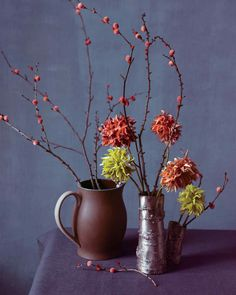 These stylish branches and flowers are beautiful enough to have come from nature. And they're so easy to make: Just attach pom-poms to twigs or sew on velvet petals to make dahlias.