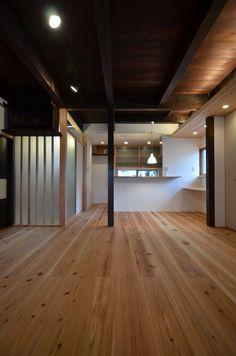 大きな土間のある杉床と珪藻土塗りの古民家断熱改修(倉敷)   木のマンションリフォーム・リノベーション-マスタープラン一級建築士事務所