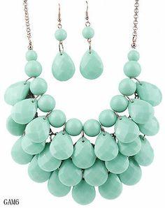 Blue Charm Jewelry Set Bubble Teardrop Chain Resin Beads Necklace Earrings GAM6
