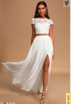 White Two Piece Outfit, Two Piece Dress, White Lace Crop Top, Lace Crop Tops, Engagement Photo Dress, 2 Piece Wedding Dress, Maxi Dress With Sleeves, Lace Maxi, Dress Lace