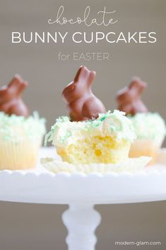 Make these super easy chocolate bunny Easter cupcakes! Quick and fun easter dessert that they kids will love helping make too! #easterdessert #easterbrunch #easter #dessert #cupcakes #easterbunny #modernglam