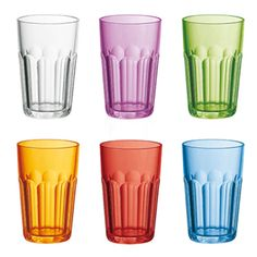 Happy Hour Drinking Glass Mixed Colors 6pcs, Guzzini