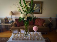 Gold and pink bridal shower. Thank you favors. DIY dollar store. Flower arrangement.