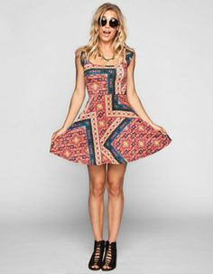 SOCIALITE Boho Print Cross Back Dress
