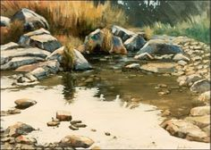 Berg Stream - oil Outdoor Painting, John Smith, South Africa, Reflection, Landscaping, Paintings, Oil, Water, Artist